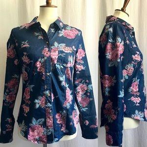 GUESS Dark Indigo Chambray Floral Western Shirt